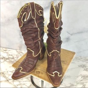 NaNa Leather Cowboy Cowgirl Boots Size 6.5